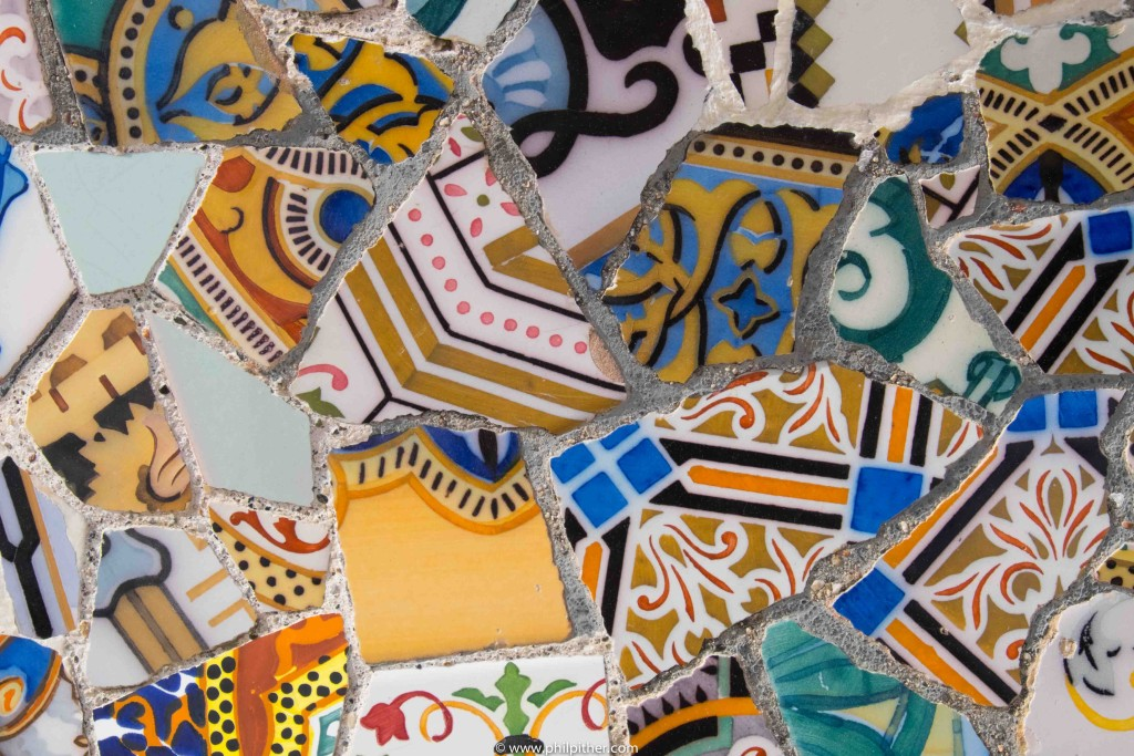 Ceramics by Gaudi, Guell Park Barcelona
